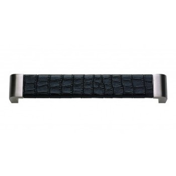"""Atlas Homewares, Paradigm, 6 5/16"""" (160mm) Curved Pull, Brushed Nickel and Black Croc Leather"""