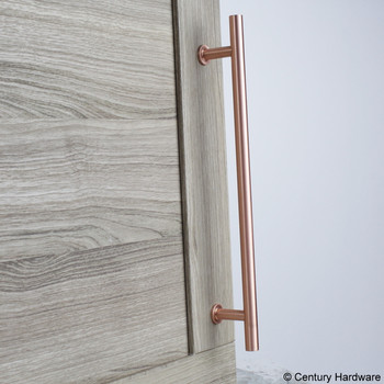 "Century, Modern Geo, Solid Brass 7 9/16"" (192mm) Bar pull, Satin Rose Gold, mounted"