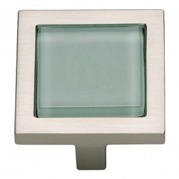 "Atlas Homewares, Spa, 1 3/8"" Square knob, Green with Brushed Nickel"