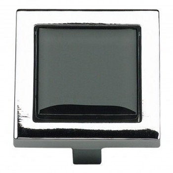 "Atlas Homewares, Spa, 1 3/8"" Square knob, Black with Polished Chrome"