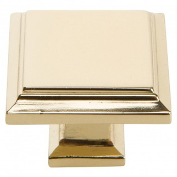"Atlas Homewares, Sutton Place, 1 1/4"" Square Knob, French Gold"