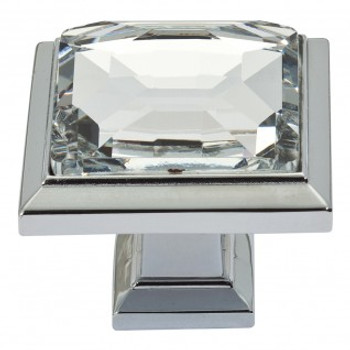 "Atlas Homewares, Crystal, 1 5/16"" Square Knob, Crystal with Polished Chrome"