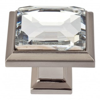 "Atlas Homewares, Crystal, 1 5/16"" Square Knob, Crystal with Brushed Nickel"