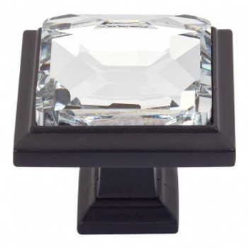 "Atlas Homewares, Crystal, 1 5/16"" Square Knob, Crystal with Matte Black"