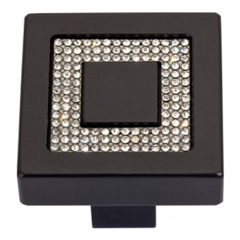 "Atlas Homewares, Crystal, 1 3/8"" Square Knob, Crystal with Matte Black"