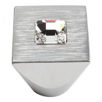 "Atlas Homewares, Crystal, 1"" Center Crystal Square Knob, Crystal with Matte Chrome"