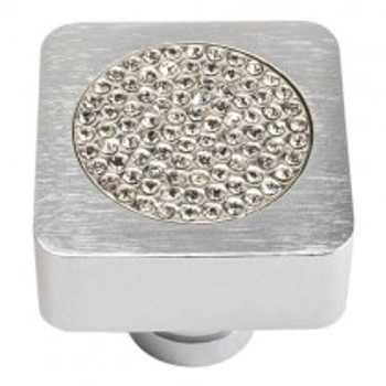 "Atlas Homewares, Crystal, 1"" Center Filled Crystal Square Knob, Crystal with Matte Chrome"