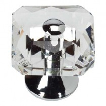 "Atlas Homewares, Crystal, 1 1/2"" Crystal Square Knob, Polished Chrome center and base"