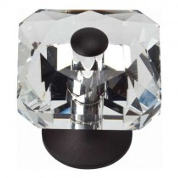 "Atlas Homewares, Crystal, 1 1/2"" Crystal Square Knob, Matte Black center and base"