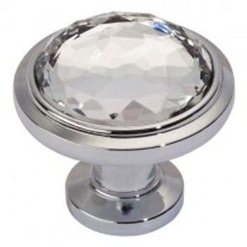 "Atlas Homewares, Crystal, 1 5/16"" Round Crystal Knob, Polished Chrome"