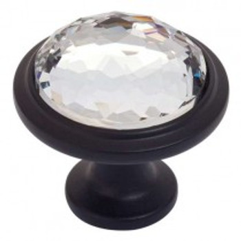 "Atlas Homewares, Crystal, 1 5/16"" Round Crystal Knob, Matte Black"
