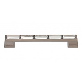 "Atlas Homewares, Crystal, 5 1/16"" (128mm) Crystal Straight pull, Brushed Nickel"