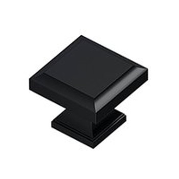 "Deltana, 1 3/16"" Square knob, Paint Black"
