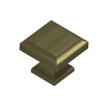 "Deltana, 1 3/16"" Square knob, Antique Brass"