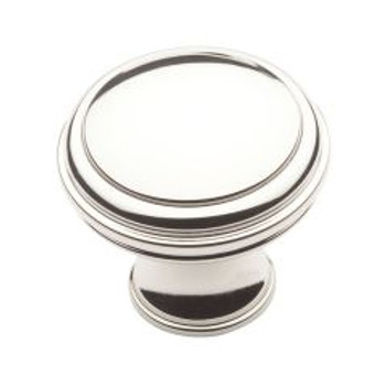 "Baldwin, Severin, 1 1/3"" Round knob, Polished Nickel"