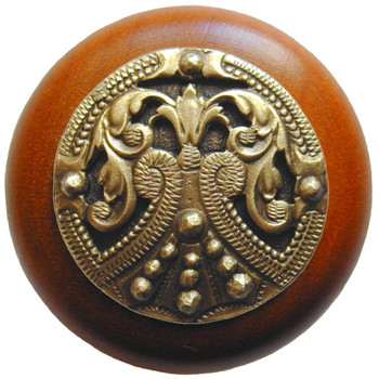 "Notting Hill, Regal Crest, 1 1/2"" Round Wood Knob, in Antique Brass with Cherry wood finish"