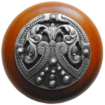 "Notting Hill, Regal Crest, 1 1/2"" Round Wood Knob, in Antique Pewter with Cherry wood finish"