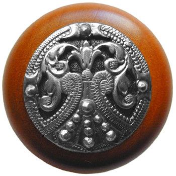 """Notting Hill, Regal Crest, 1 1/2"""" Round Wood Knob, in Brilliant Pewter with Cherry wood finish"""