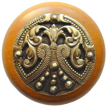 "Notting Hill, Regal Crest, 1 1/2"" Round Wood Knob, in Antique Brass with Maple wood finish"