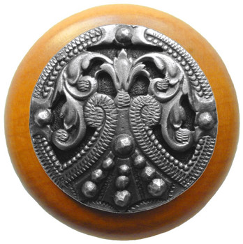 """Notting Hill, Regal Crest, 1 1/2"""" Round Wood Knob, in Antique Pewter with Maple wood finish"""