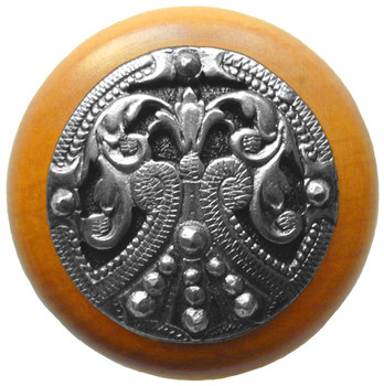 """Notting Hill, Regal Crest, 1 1/2"""" Round Wood Knob, in Brilliant Pewter with Maple wood finish"""