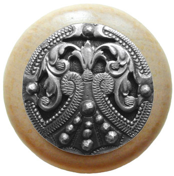"Notting Hill, Regal Crest, 1 1/2"" Round Wood Knob, in Antique Pewter with Natural wood finish"