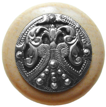 "Notting Hill, Regal Crest, 1 1/2"" Round Wood Knob, in Brilliant Pewter with Natural wood finish"