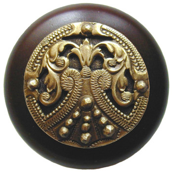 "Notting Hill, Regal Crest, 1 1/2"" Round Wood Knob, in Antique Brass with Dark Walnut wood finish"