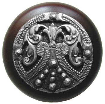 "Notting Hill, Regal Crest, 1 1/2"" Round Wood Knob, in Antique Pewter with Dark Walnut wood finish"