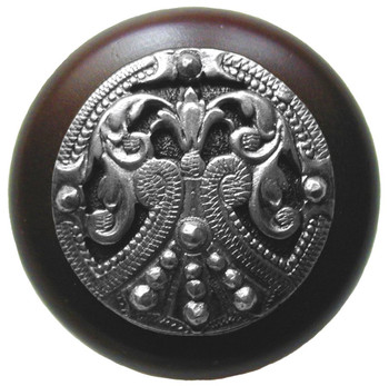 "Notting Hill, Regal Crest, 1 1/2"" Round Wood Knob, in Brilliant Pewter with Dark Walnut wood finish"