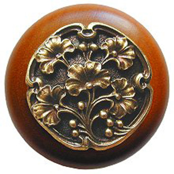 """Notting Hill, Ginkgo Berry, 1 1/2"""" Round Wood Knob, in Antique Brass with Cherry wood finish"""