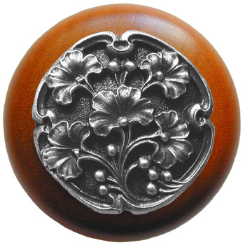 """Notting Hill, Ginkgo Berry, 1 1/2"""" Round Wood Knob, in Antique Pewter with Cherry wood finish"""