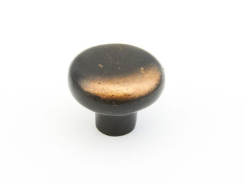 "Schaub and Company, Cast Bronze Mountain, 1 5/8"" Round Knob, Antique Bronze"