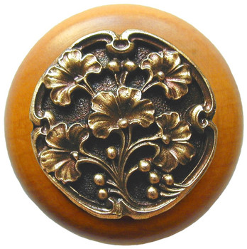 """Notting Hill, Ginkgo Berry, 1 1/2"""" Round Wood Knob, in Antique Brass with Maple wood finish"""