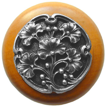"""Notting Hill, Ginkgo Berry, 1 1/2"""" Round Wood Knob, in Antique Pewter with Maple wood finish"""
