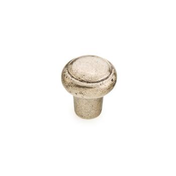 "Schaub and Company, Cast Bronze Mountain, 1 3/8"" Round Button Knob, Italian Nickel"