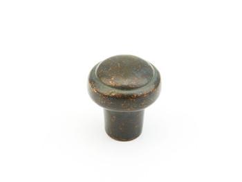 "Schaub and Company, Cast Bronze Mountain, 1 3/8"" Round Button knob, Verde Imperiale"