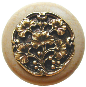 """Notting Hill, Ginkgo Berry, 1 1/2"""" Round Wood Knob, in Antique Brass with Natural wood finish"""