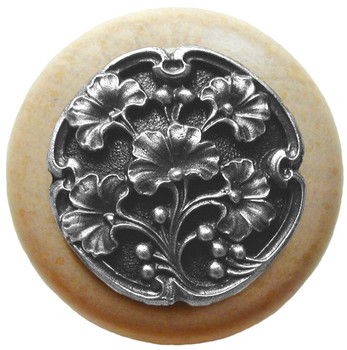 """Notting Hill, Ginkgo Berry, 1 1/2"""" Round Wood Knob, in Antique Pewter with Natural wood finish"""