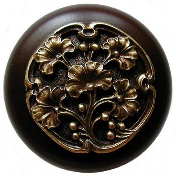 "Notting Hill, Ginkgo Berry, 1 1/2"" Round Wood Knob, in Antique Brass with Dark Walnut wood finish"