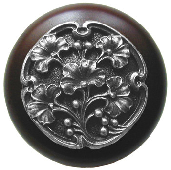 """Notting Hill, Ginkgo Berry, 1 1/2"""" Round Wood Knob, in Antique Pewter with Dark Walnut wood finish"""