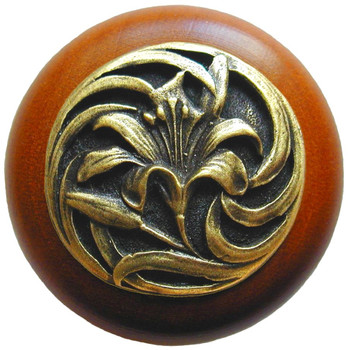 """Notting Hill, Tiger Lily, 1 1/2"""" Round Wood Knob, in Antique Brass with Cherry wood finish"""