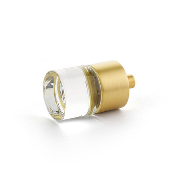 "Schaub and Company, City Lights, 7/8"" Round knob, Clear with Satin Brass"