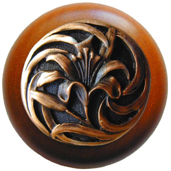 """Notting Hill, Tiger Lily, 1 1/2"""" Round Wood Knob, in Antique Copper with Cherry wood finish"""