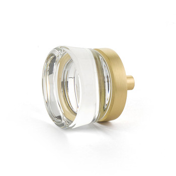 "Schaub and Company, City Lights, 1 3/8"" Round knob, Clear with Satin Brass"