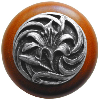 "Notting Hill, Tiger Lily, 1 1/2"" Round Wood Knob, in Antique Pewter with Cherry Wood Finish"