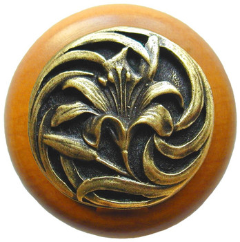 "Notting Hill, Tiger Lily, 1 1/2"" Round Wood Knob, in Antique Brass with Maple Wood Finish"