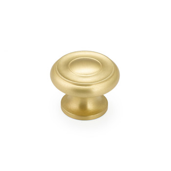 "Schaub and Company, Colonial, 1 1/2"" Round Knob, Satin Brass"