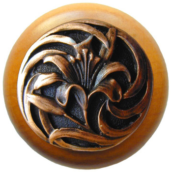 "Notting Hill, Tiger Lily, 1 1/2"" Round Wood Knob, in Antique Copper with Maple Wood Finish"