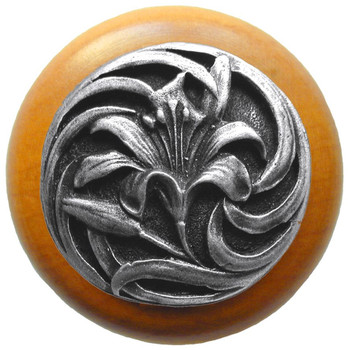 "Notting Hill, Tiger Lily, 1 1/2"" Round Wood Knob, in Antique Pewter with Maple wood finish"
